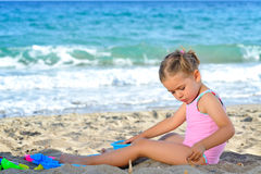 Toddler girl at beach Stock Photography