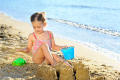 Toddler girl at beach Royalty Free Stock Photo