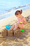 Toddler girl at beach Royalty Free Stock Photo