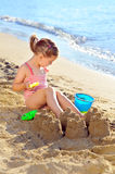 Toddler girl at beach Royalty Free Stock Images