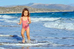 Toddler girl at beach Royalty Free Stock Photography