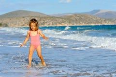 Toddler girl at beach Stock Photography
