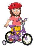 Toddler girl with bike. Cartoon illustration of a toddler girl with bike vector illustration