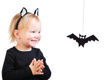 Toddler girl in black cat costume Stock Photography