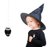 Toddler girl in black little witch costume Royalty Free Stock Images