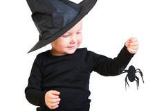 Toddler girl in black little witch costume. Halloween dressed toddler girl in black little witch costume looking to small spider stock photos