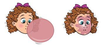 Toddler girl blowing bubblegum Royalty Free Stock Photo
