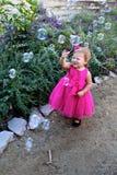 Toddler girl bubbles Stock Photos
