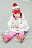 Toddler girl with chalk Royalty Free Stock Photography