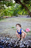 Toddler Girl at Creek Royalty Free Stock Photo