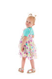 Toddler girl dancing in summer dress Royalty Free Stock Image