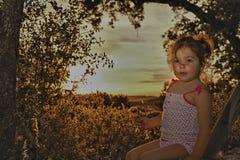 Toddler girl on dehesa sunset Stock Photography