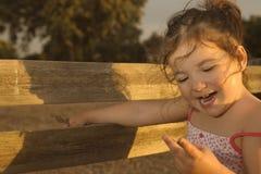 Toddler girl on dehesa sunset Royalty Free Stock Photo