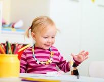 Toddler Girl Drawing Royalty Free Stock Photos