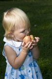 Toddler Girl Eating Apple Stock Photography