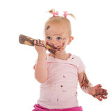 Toddler girl eating ice cream Stock Images
