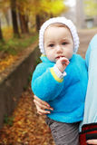 Toddler girl in fall time Royalty Free Stock Photography