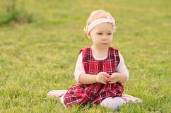 Toddler girl on the field Stock Photo