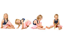 Toddler girl in fun activities Royalty Free Stock Image
