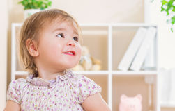 Toddler girl with a giant smile Stock Photo