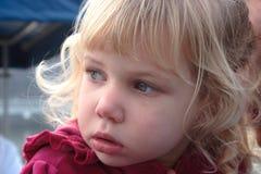Toddler Girl Head Shot. Curious toddler girl looking - head shot Stock Photos