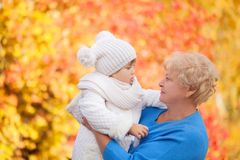 Toddler girl and her grandmother  Stock Images
