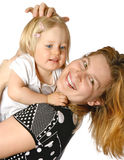 Toddler girl with her mom, Royalty Free Stock Images