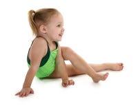 Toddler Girl in leotard stock photo