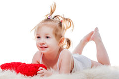 Toddler girl  lying in bed Royalty Free Stock Photo
