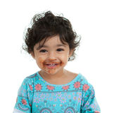 Toddler Girl with Mouth Smeared with Chocolate Stock Photos