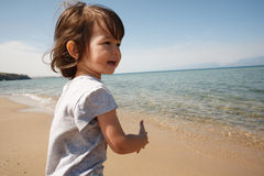 Toddler girl near lake Royalty Free Stock Photography