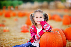 Toddler girl picking a pumpkin for Halloween royalty free stock photos
