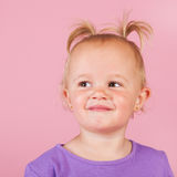 Toddler girl in pink Royalty Free Stock Images