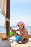 Toddler girl playing at beach Royalty Free Stock Photography