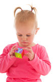 Toddler girl playing with blocks Royalty Free Stock Photo
