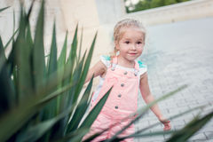 Toddler girl playing hide and seek. In summer Stock Image