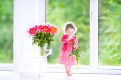 Toddler girl playing with peony flowers Royalty Free Stock Images