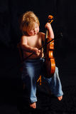 Toddler Girl Playing Violin Stock Photo