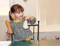 Toddler Girl Proud of Her Tortilla Stock Photo