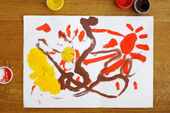 Toddler girl's painting Stock Image