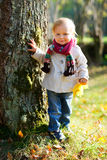 Toddler girl standing near tree Royalty Free Stock Image