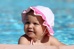 Toddler girl at swimming pool Stock Image
