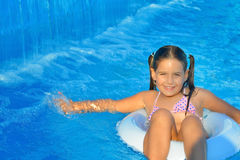 Toddler girl in swimming pool Royalty Free Stock Image