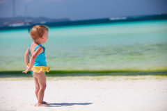 Toddler girl at tropical beach Royalty Free Stock Photography