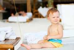 Toddler girl on vacation Stock Photo