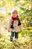 Toddler girl walking at autumn forest Stock Photo