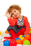 Toddler girl waving Royalty Free Stock Photo