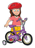 Toddler Girl With Bike Stock Photography