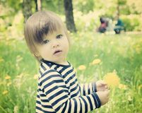 Toddler girl with yellow flower Stock Photo