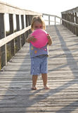 Toddler going to beach Stock Images